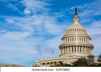 US Capitol Buiding Washington DC Dome Detail Closeup Alone Daylight Shadow Sunshine American Landmark