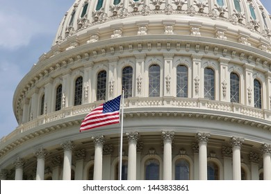 US CAPITOL BUILDING with American Flag
