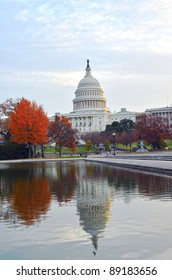 US Capitol building in Autumn, Washington DC USA