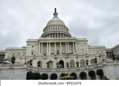 US Capitol Building with cloudy sky, Washington DC, USA