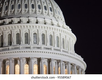 US Capitol building dome, details, at night, Washington DC, United States