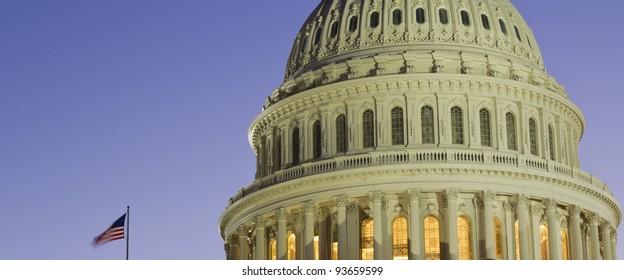 US Capitol Building Dome at dusk, blue sky Washington DC.