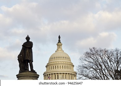 US capitol Building Dome and James A. Garfield Statue in the front,  in winter Washington DC