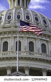 US Capitol Building Dome, Washington DC, with American Flag.