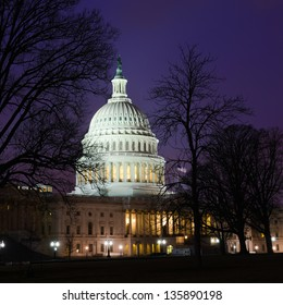 US Capitol building east facade at night, Washington DC - United States