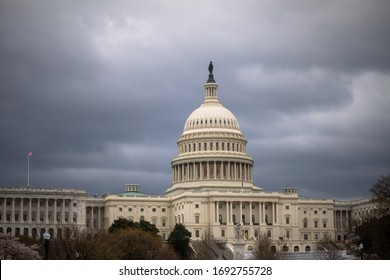 The U.S. Capitol building is empty after the COVID-19 coronavirus pandemic forces staffers to telework.