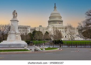 US Capitol Building in spring of 2021 with metal security fence
