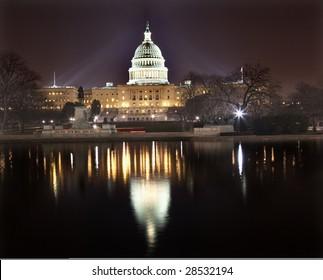 US Capitol Congress House Representatives Senate capital city Washington DC  With Reflections