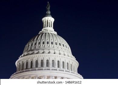 US Capitol dome detail at night, Washington DC, USA