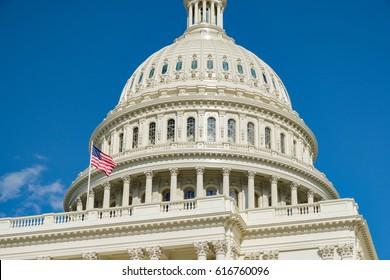 U.S. Capitol -- Dome and Flag Closeup