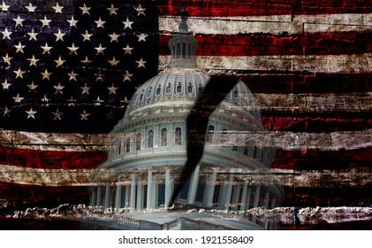 THe US Capitol dome in Washington DC with a crack down the middle over the American flag, representing political division in the country
