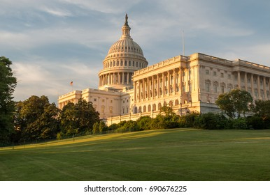 US Capitol and Green Lawn During Sunset