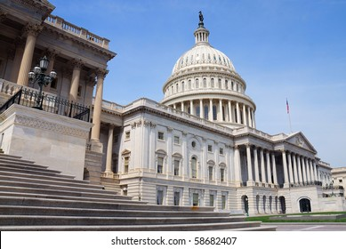 US Capitol Hill Building closeup front shot, Washington DC.