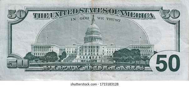 US Capitol on 50 dollars banknote back side closeup macro fragment. United states fifty dollars money bill