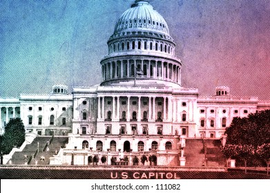 US Capitol On Fifty Dollar Bill With Color and Blur Effect