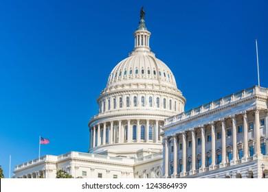 US Capitol over blue sky