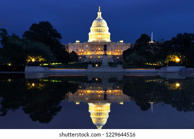 The US Capitol in Washington DC Landscape at night