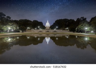 The US Capitol in Washington DC Landscape. Starry sky over Capitol building.