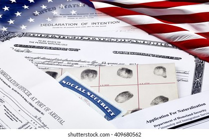 US Certificate of Citizenship, declaration of intention, fingerpirnt card, social security card, application for naturalization and port of arrival manifest with American Flag