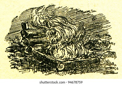 """US chimney campfire - an illustration from the book """"In the wake of Robinson Crusoe"""", Moscow, USSR, 1946. Artist Petr Pastukhov"""