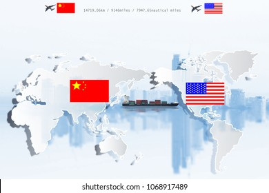 US and China as two opposing cargo freight containers in conflict as an economic dispute over import and exports concept