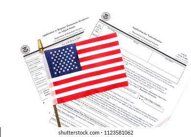 US Citizen Ship application. USA Application for Citizenship and resident alien paperwork. Politics and immigration concepts.