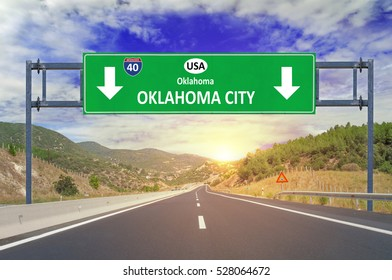 US city Oklahoma City road sign on highway
