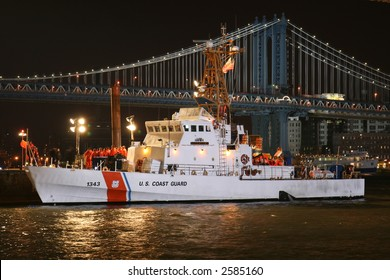 US Coast Guard Cutter in Manhattan Illuminated at Night