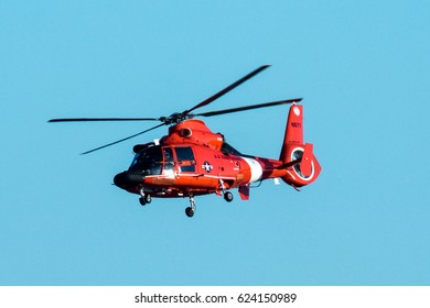 US Coast Guard MH-65 Dolphin Helicopter over the Potomac River in April 2017.