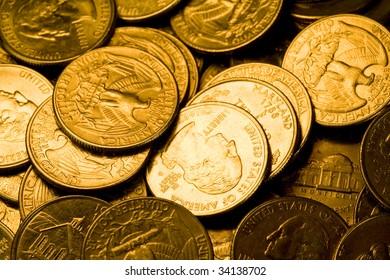 US Coins close up shot