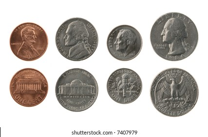 US coins collection isolated on white, obverse and reverse