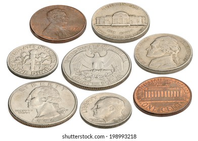 US coins isolated on a white background.