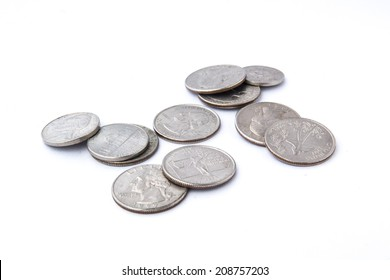 US coins on isolated white background