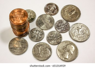 US coins on white background.