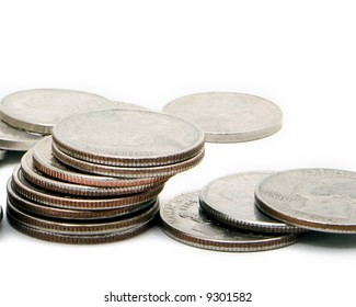 US Coins in a pile