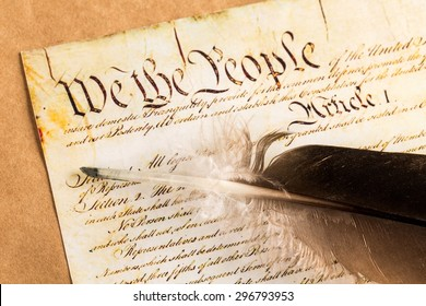 US Constitution, Declaration Of Independence, Quill Pen.
