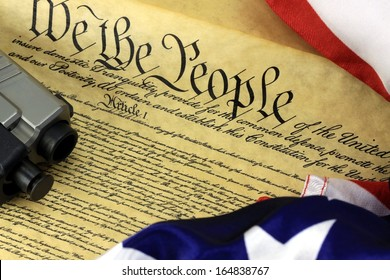 US Constitution with Hand Gun - Right To Keep and Bear Arms