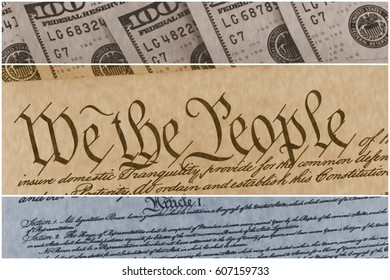 US Constitution with One Hundred Dollar Bills sitting above - National Debt Ceiling Concept