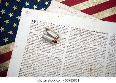 US Constitution with Two Bullets