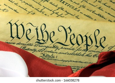 US Constitution - We The People with American Flag