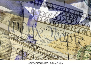 US constitution We the People, American flag and one hundred dollar bill - Finance and government concept