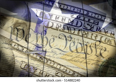 US constitution We the People and one hundred dollar bill - Finance and government concept