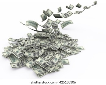 Us currency $100 both from front and back like real falling on white background. 3d rendering
