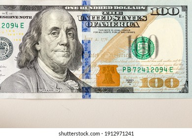 US currency, 100 dollars banknotes, one hundred dollars a single banknote