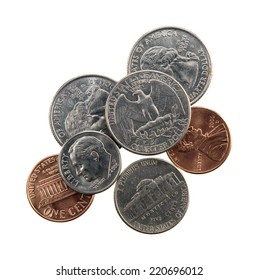 US currency coins - quarter, nickel, dime and penny - isolated on white.