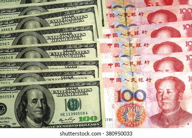 US currency dollar and Chinese currency yuan
