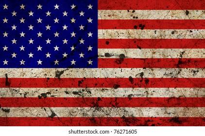 US dirty old grunge flag