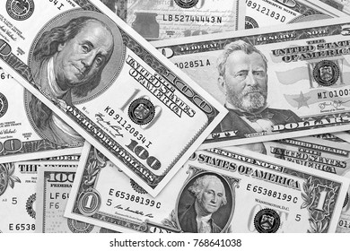 US dollar abstract background black and white