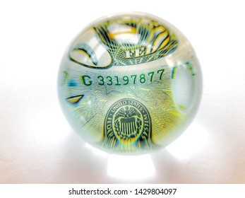 US dollar bank note, United States detail, seen through a crystal ball, Creative concept, global business, banking and finance