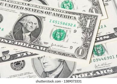 us dollar bank notes, macro photography.